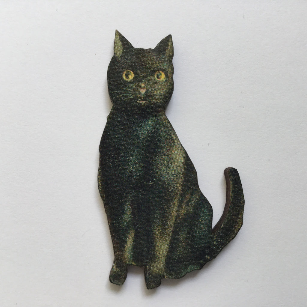 Black Cat Wood Brooches