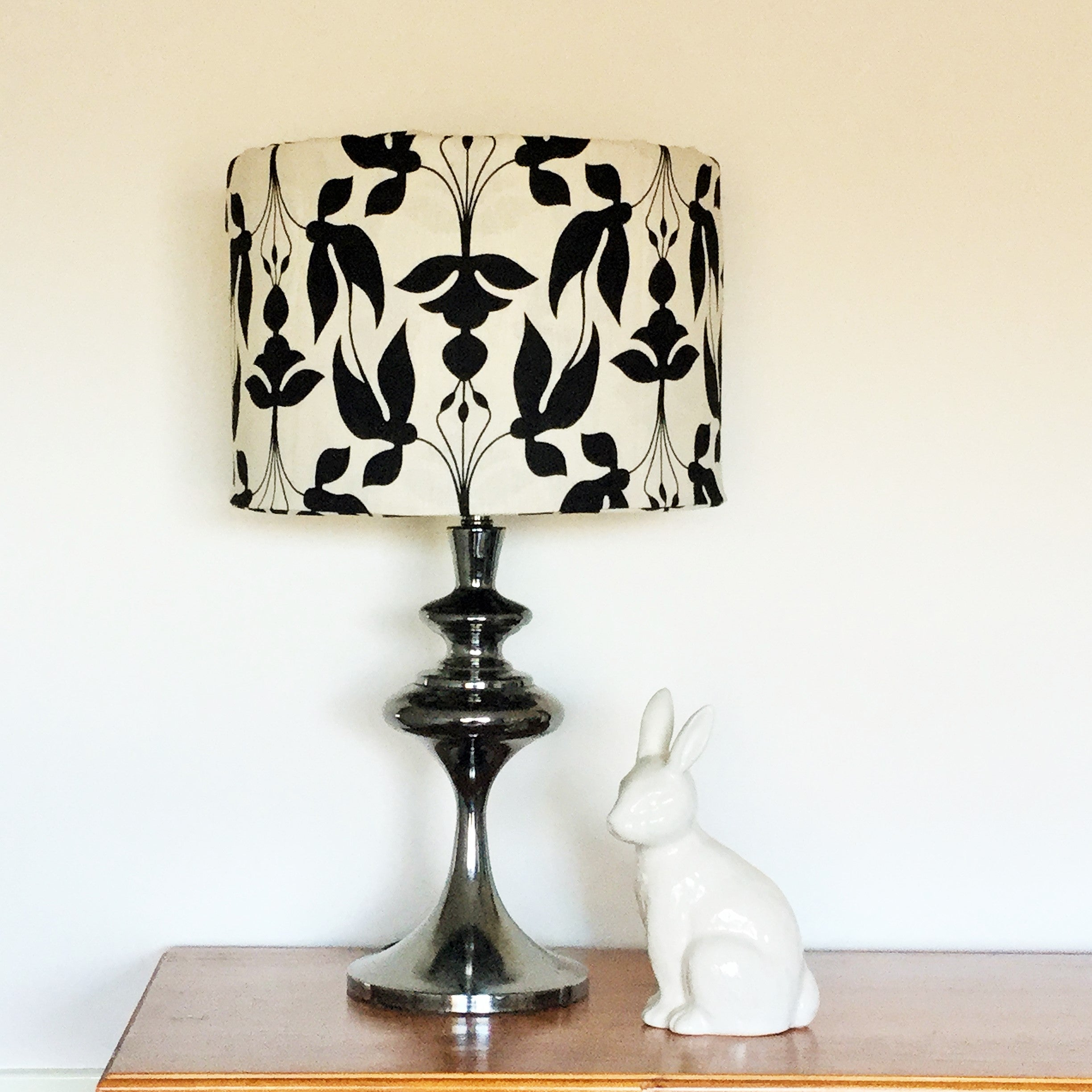 Custom Lamp Shade only - Black Seed Pods on Linen