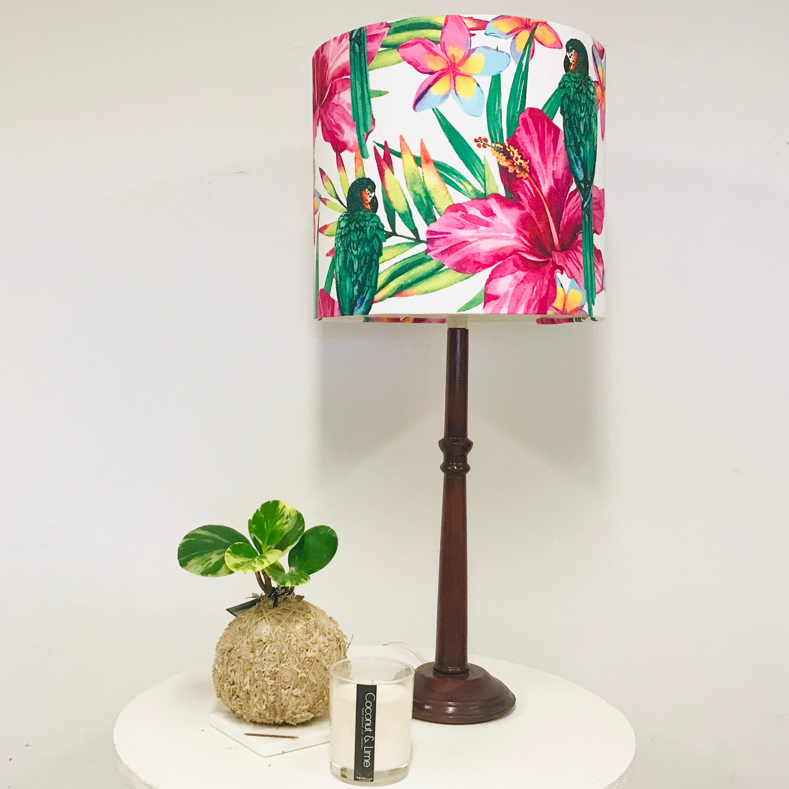 Custom Lamp Shade only - Green Parrots