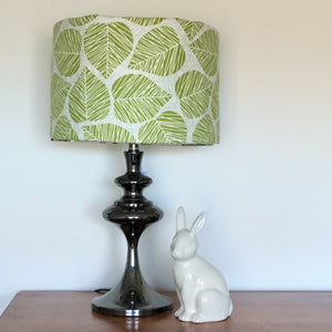 Custom Lamp Shade only - Linen Leaves in Green