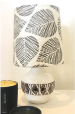 Custom Lamp Shade only - Linen Leaves in Grey