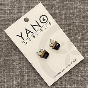 Mini Pot Plant Laser Cut Stud Earrings