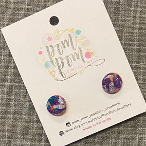 Dot Polymer Clay Stud Earrings - medium (P)