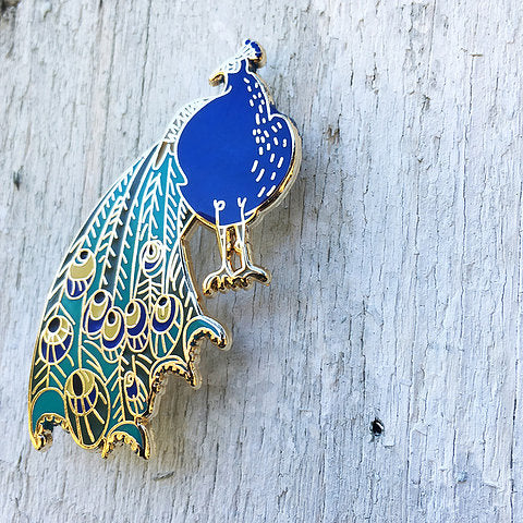 Peacock Enamel Lapel Pin