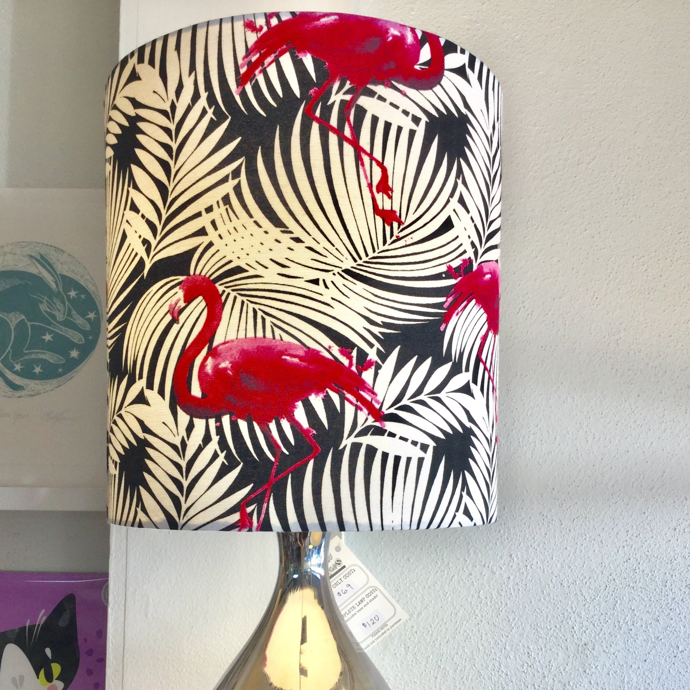 Custom Lamp Shade only - Pink Flamingo on White & Black