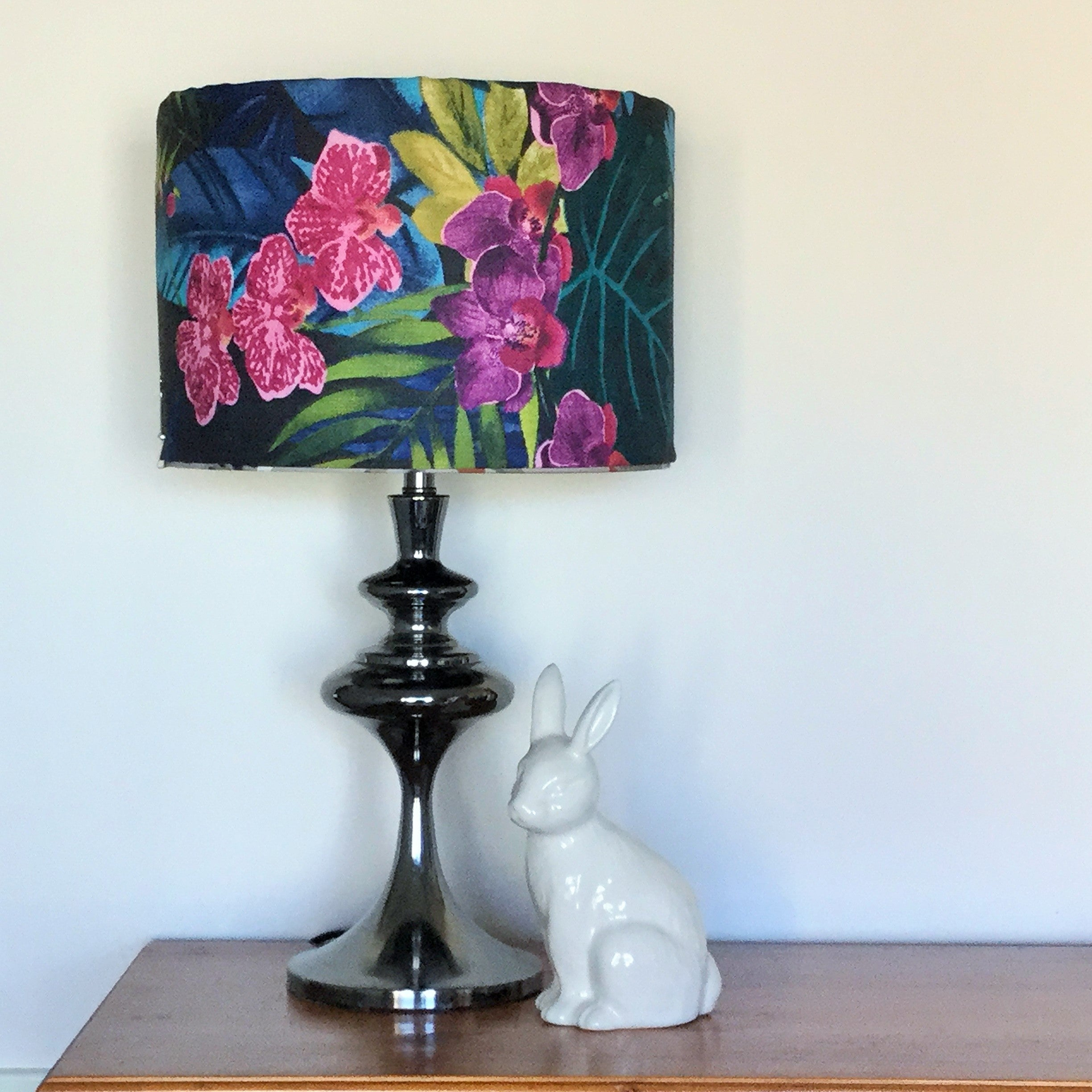 Custom Lamp Shade only - Retro Hibiscus on Black