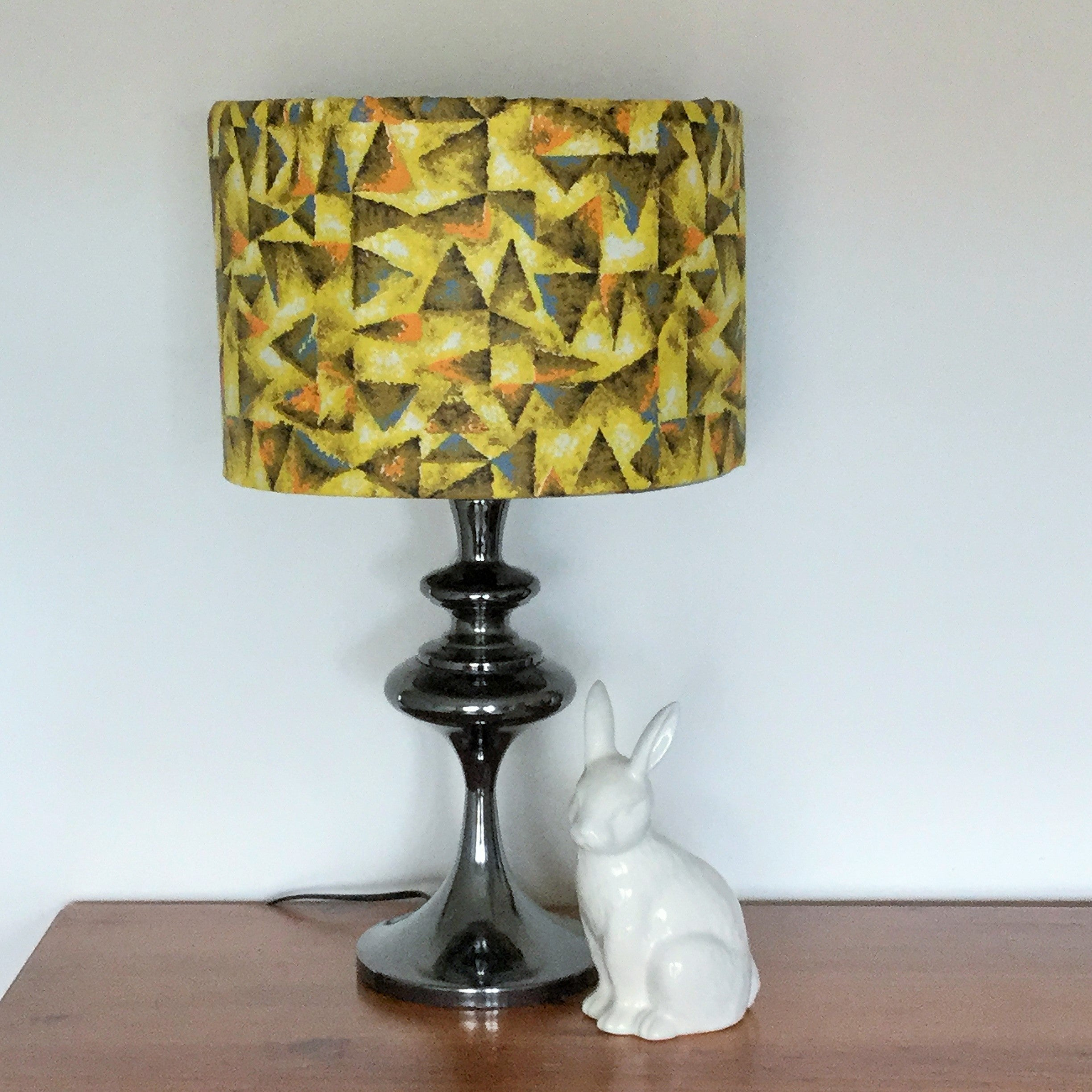 Custom Lamp Shade only - Vintage Retro Yellow Abstract