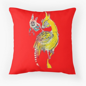 Original Art Printed Cushion - Yellow Bird