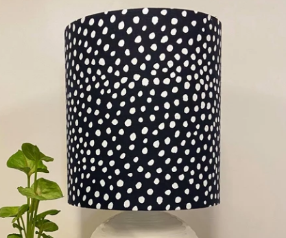 Custom Lamp Shade only - Navy Linen with White Spot