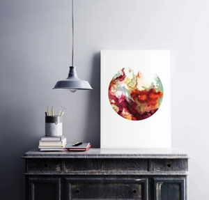 Original Art Print: Alcohol Ink - Joy (Circular)