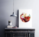 Original Art Print: Alcohol Ink - Deep Sea (Circular)