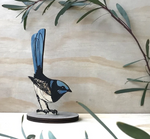 Hand Printed Standing Bird - Superb Fairy Wren