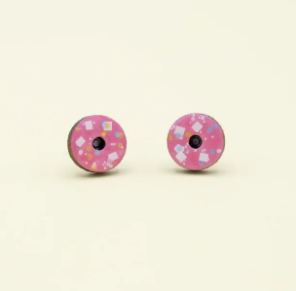 Donuts Laser Cut Timber Stud Earrings