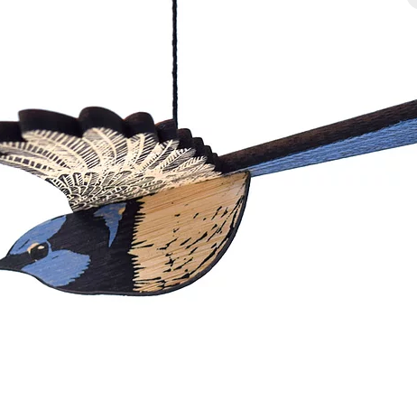 Hand Printed Wooden Bird Mobile - Superb Fairy Wren