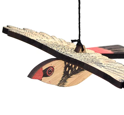 Diamond Firetail, Hand Printed Wooden Bird Mobile