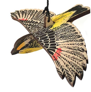 Hand Printed Wooden Bird Mobile - Striated Pardalote