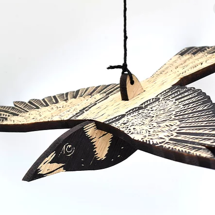Australian Magpie, Hand Printed Wooden Bird Mobile