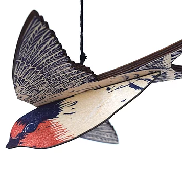 Hand Printed Wooden Bird Mobile - Welcome Swallow
