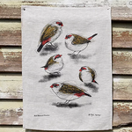 Red Browed Finches Linen Tea Towel