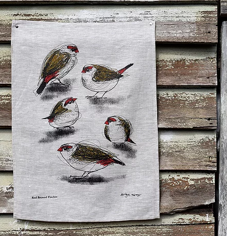 Linen Tea Towel - Red Browed Finches