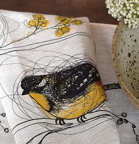 Linen Tea Towel - Spotted Pardalotes
