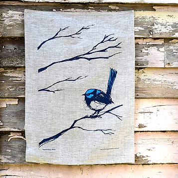 Superb Fairy Wren Linen Tea Towel