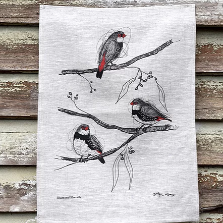 Diamond Firetails Linen Tea Towel
