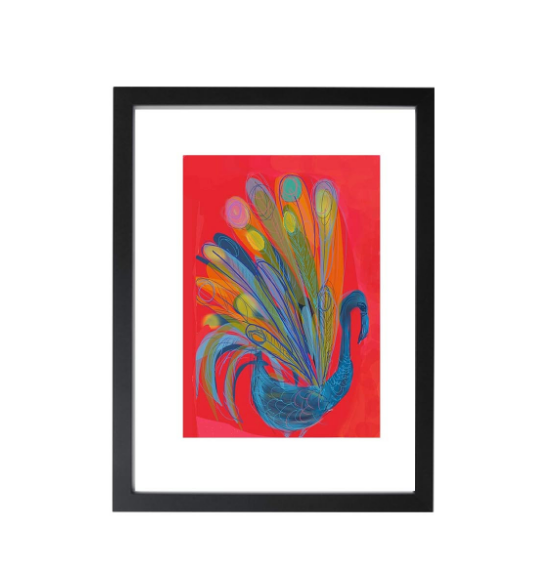 Blue & Red Peacock unframed giclée art print