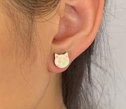Cat Laser Cut Timber Stud Earrings