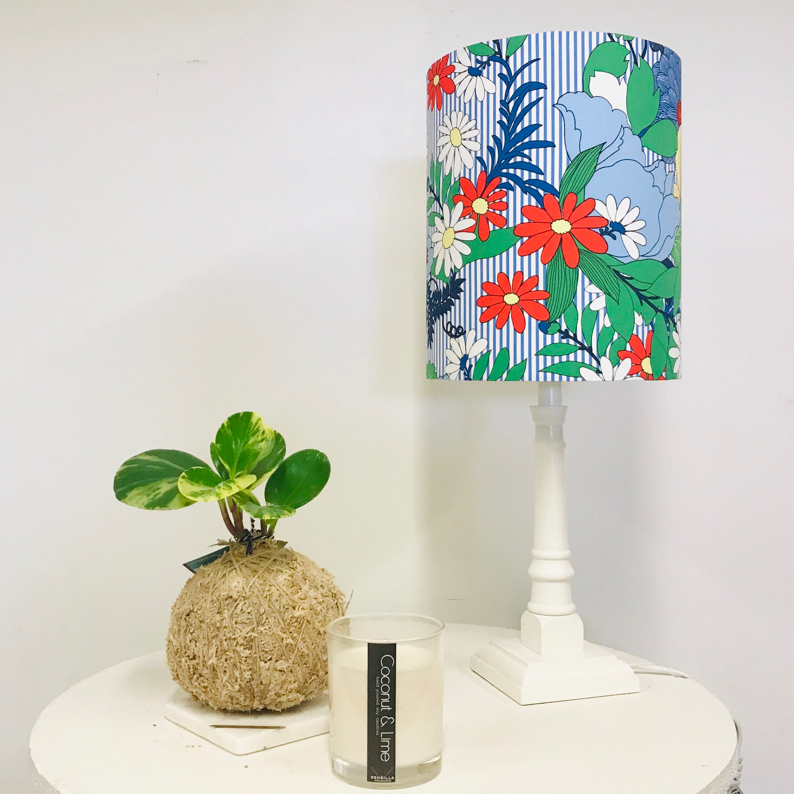 Custom Lamp Shade only - Striped Floral
