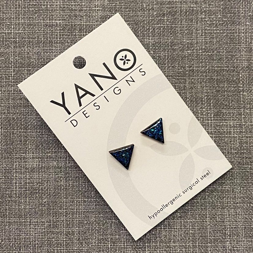 Triangle Timber Laser Cut Stud Earrings
