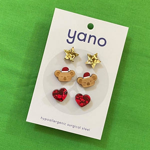 3 Pack of Laser Cut Acrylic CHRISTMAS Stud Earrings - gift pack