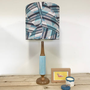 Custom Lamp Shade only - Blue Stripe & Spot Geo