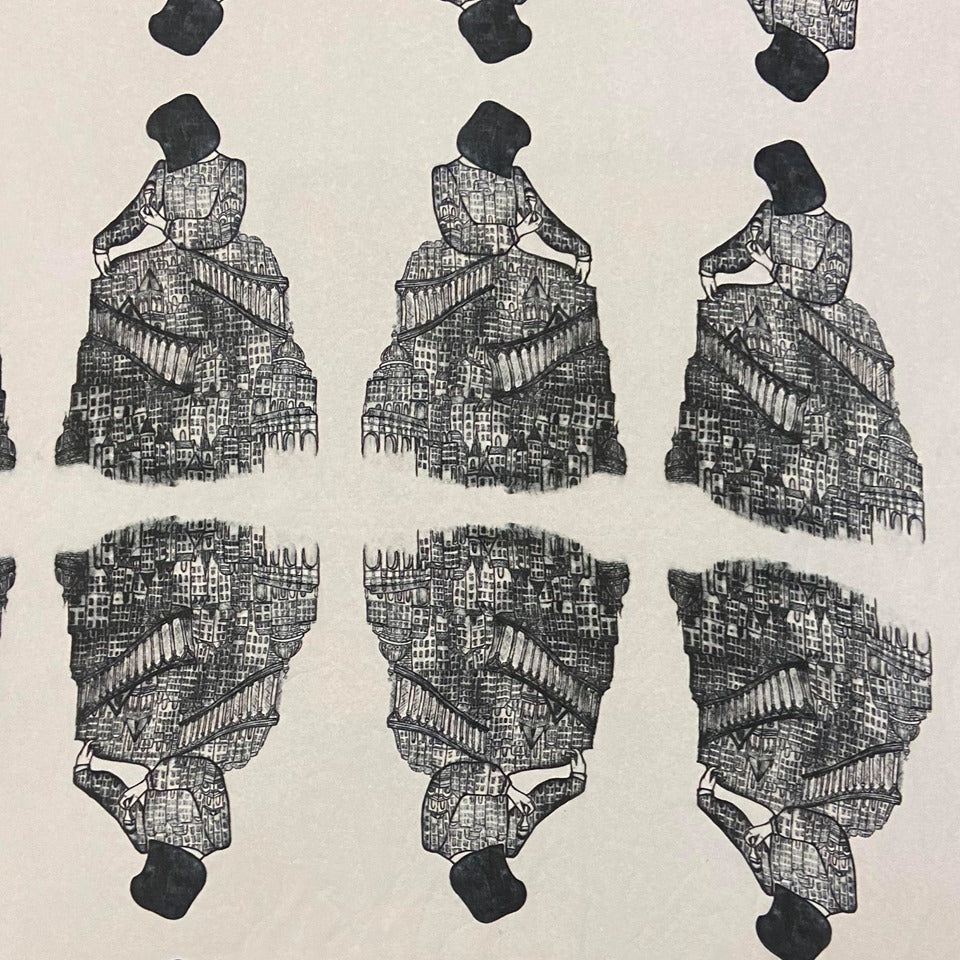 Original Art Print Polyester Scarf - Architect's Dress