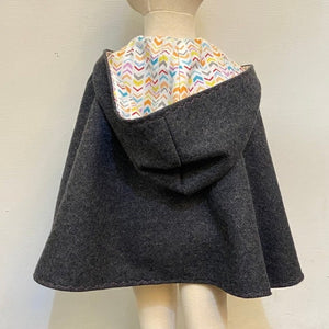 Woollen Cape - CHARCOAL WITH PASTEL