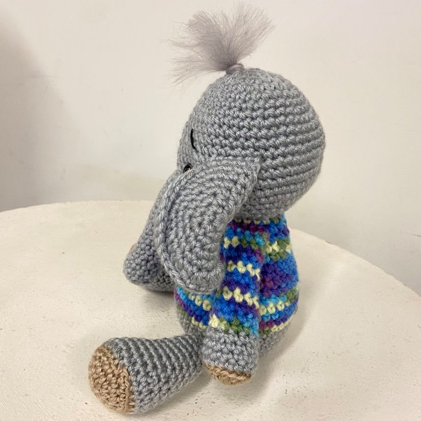 Elephant with Jumper Crochet Toy
