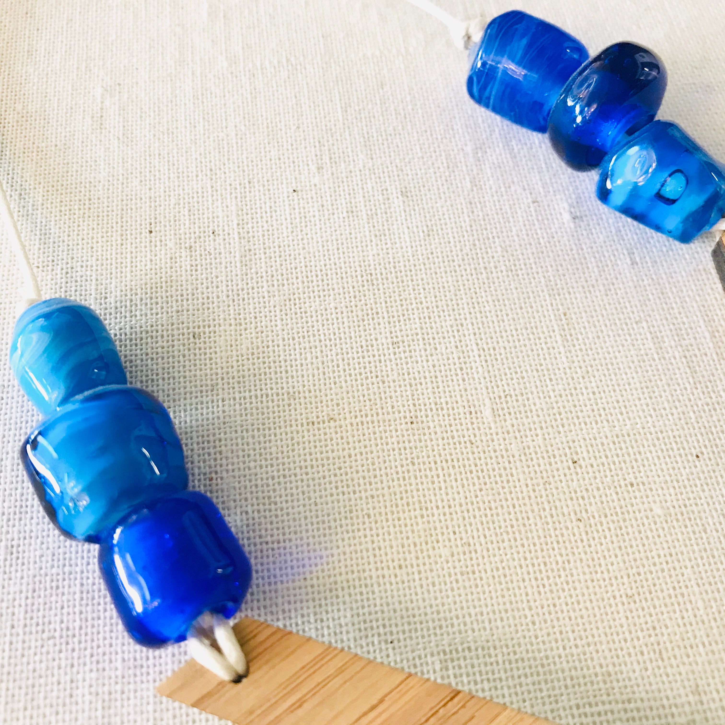 Bamboo Ply and handblown Glass Bead Necklace