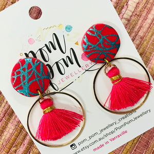 Metal Hoop Tassel & Polymer Clay Drop Earrings (J)