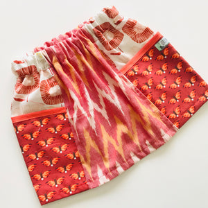 Girls Pocket Panel Skirt - Red & Orange