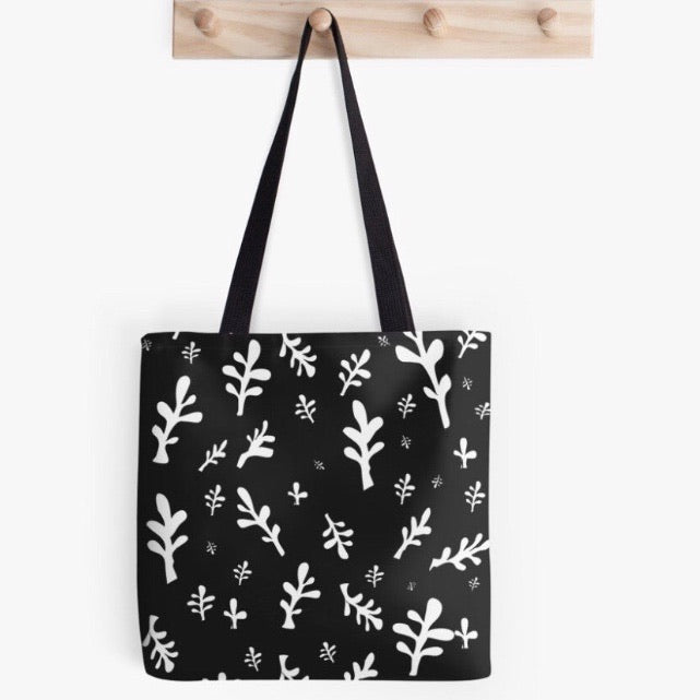 Original Art Print Tote - Black and White Autumn Leaves