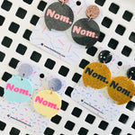 Novelty Speech Bubble Studs - Nom, Nom