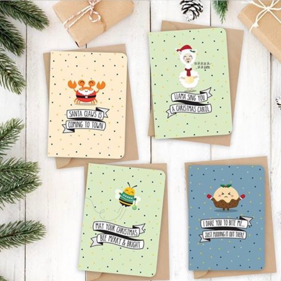 Quirky Novelty Christmas Card Pack of 8 with Envelopes