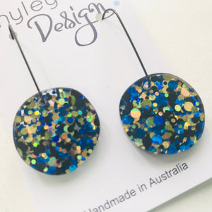 Glitter Disc Dangle Statement Earrings (GD)