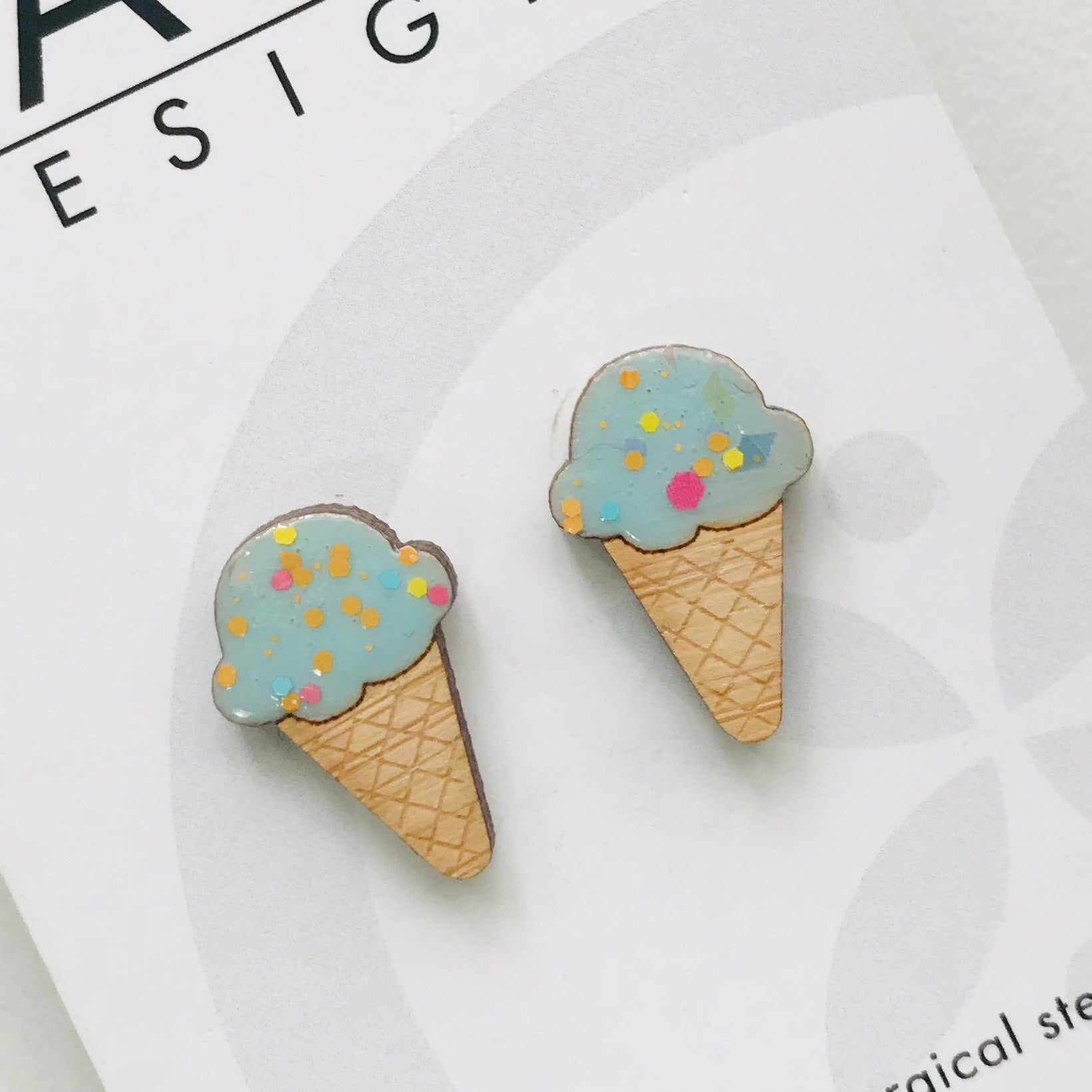 Ice-Cream Laser Cut Timber Stud Earrings
