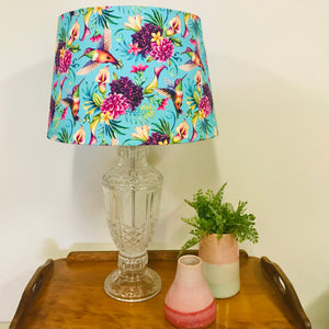 Custom Lamp Shade only - Aqua Hummingbirds