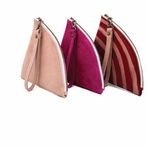 Leather / Suede Triangle Clutch Bag *ON SALE*