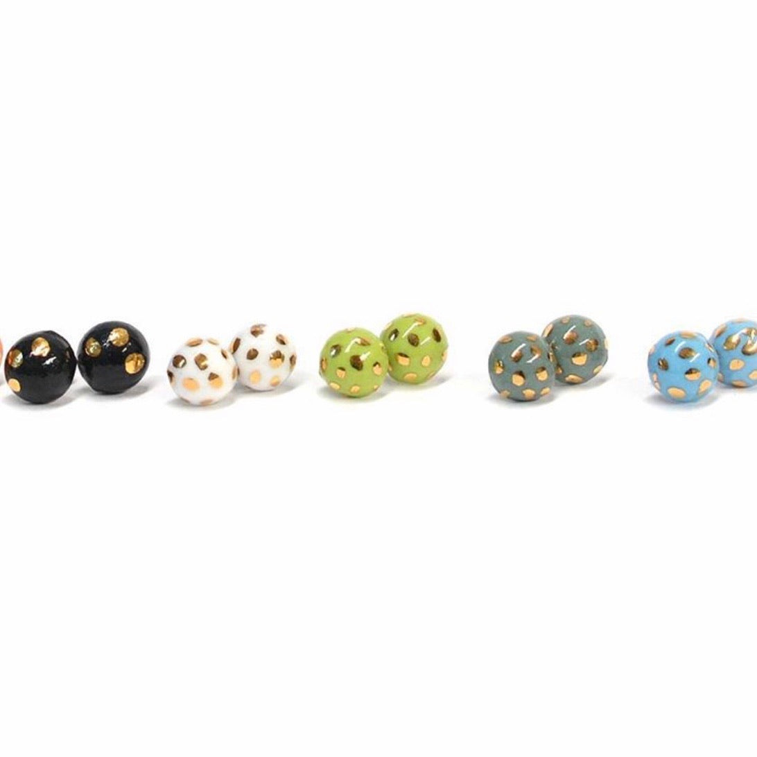 Hand painted Ceramic Stud Earrings - EXTRA SMALL 10mm