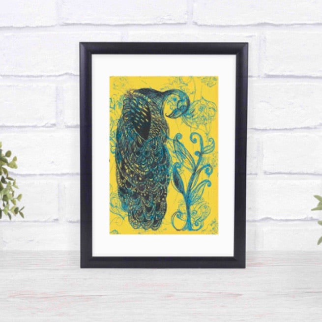 Unframed Giclée A5 Art Print - Blue and Yellow Peacock