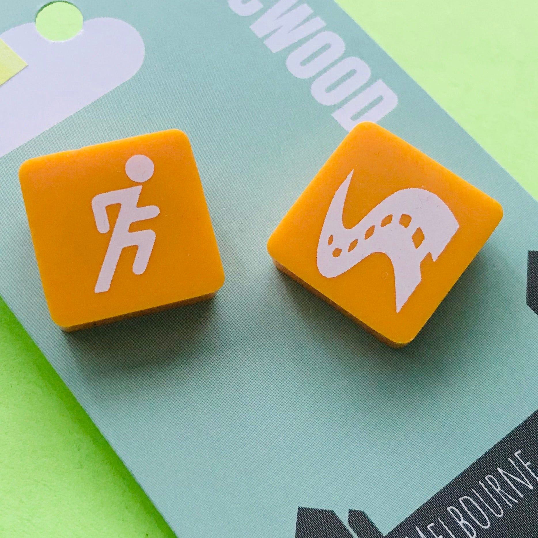 Retro Game Piece Upcycled Square Stud Earrings *ON SALE*