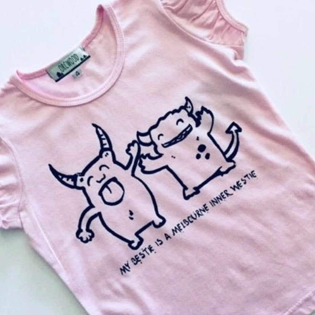 Girls Hand Screen Printed Tee - My Bestie is a Melbourne Inner Westie *ON SALE*